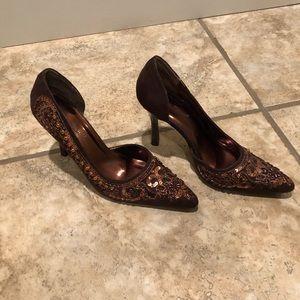 Anne Michelle Brown Suede Beaded & Sequin Heels